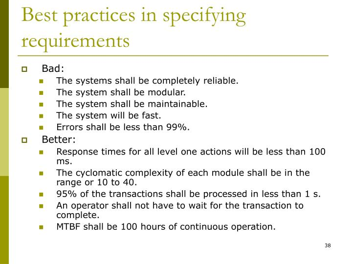 Best practices in specifying requirements