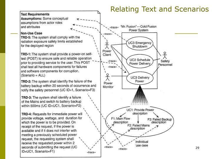 Relating Text and Scenarios