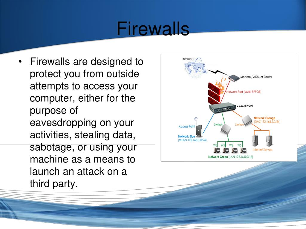 Firewalls are designed to protect you from outside attempts to access your computer, either for the purpose of eavesdropping on your activities, stealing data, sabotage, or using your machine as a means to launch an attack on a third party.