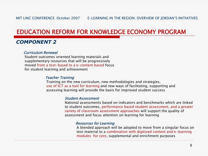 EDUCATION REFORM FOR KNOWLEDGE ECONOMY PROGRAM
