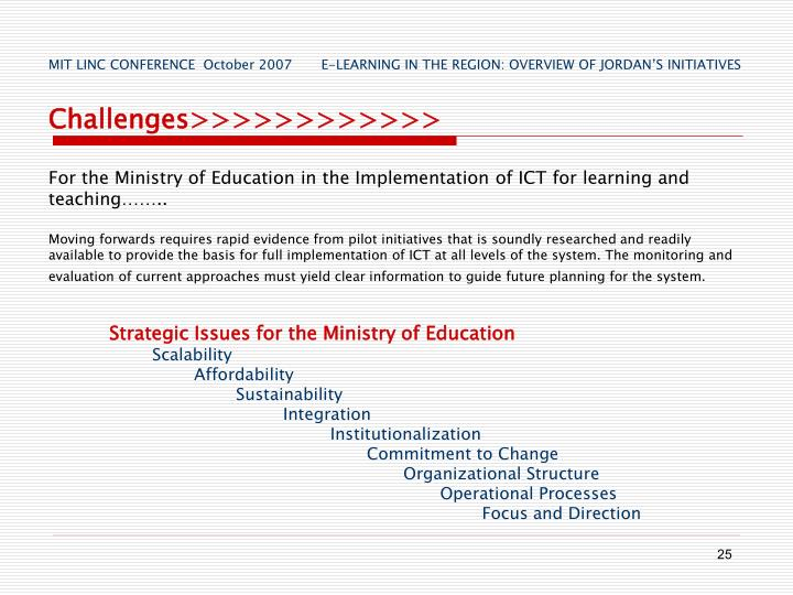 Strategic Issues for the Ministry of Education
