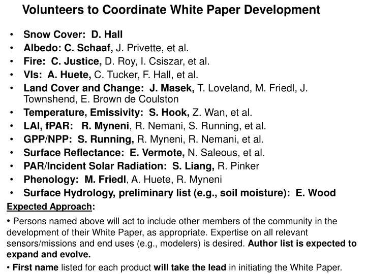 Volunteers to Coordinate White Paper Development