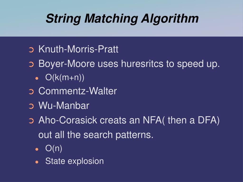 String Matching Algorithm
