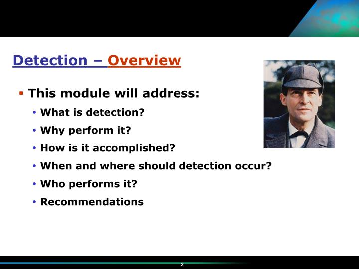 Detection overview