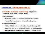 detection who performs it34