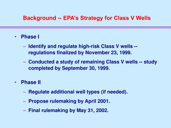 Background -- EPA's Strategy for Class V Wells