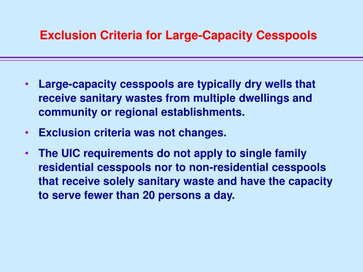 Exclusion Criteria for Large-Capacity Cesspools