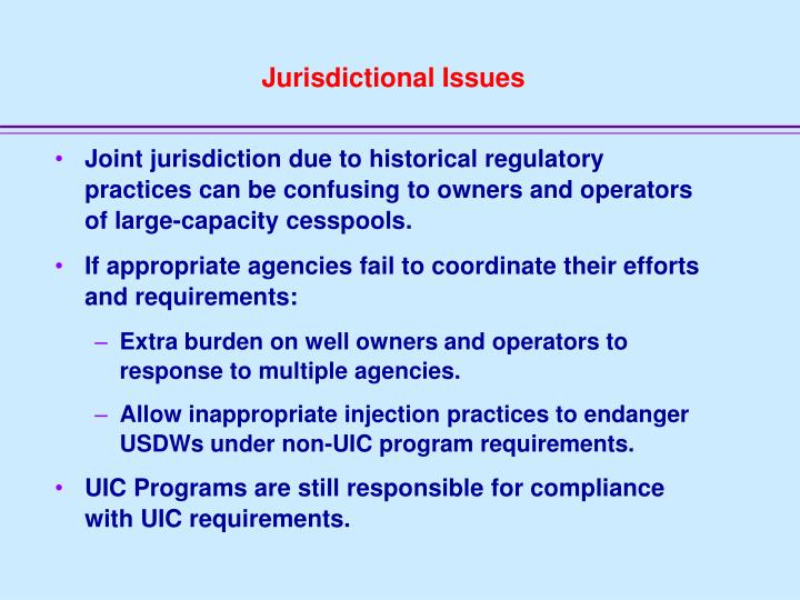 Jurisdictional Issues