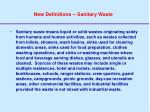 new definitions sanitary waste