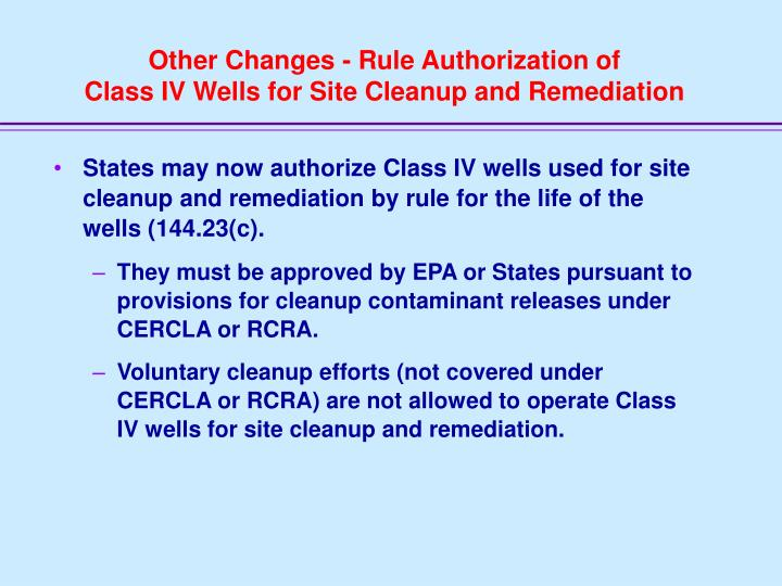 Other Changes - Rule Authorization of