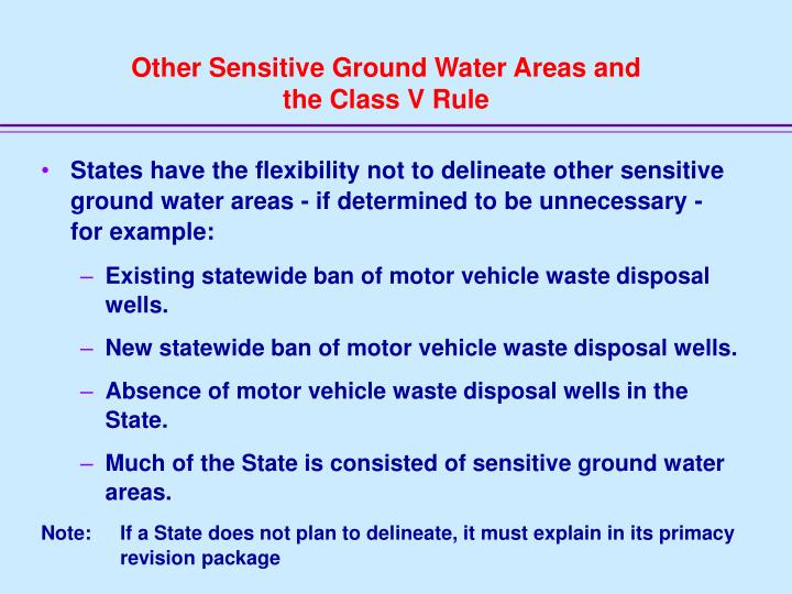Other Sensitive Ground Water Areas and