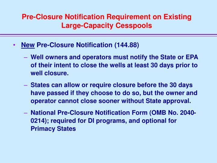 Pre-Closure Notification Requirement on Existing Large-Capacity Cesspools