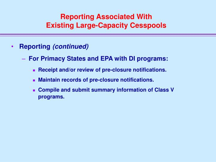 Reporting Associated With
