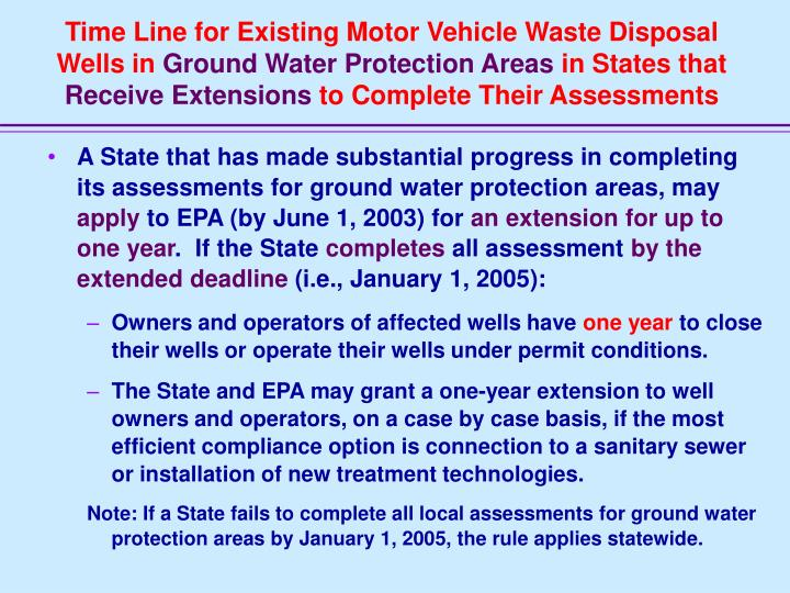 Time Line for Existing Motor Vehicle Waste Disposal Wells in
