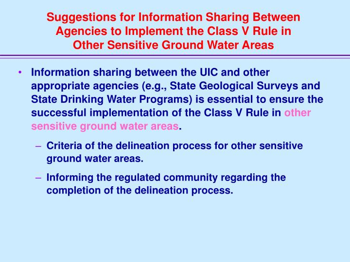Suggestions for Information Sharing Between