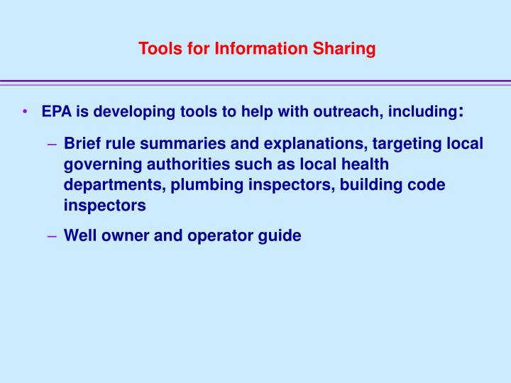 Tools for Information Sharing
