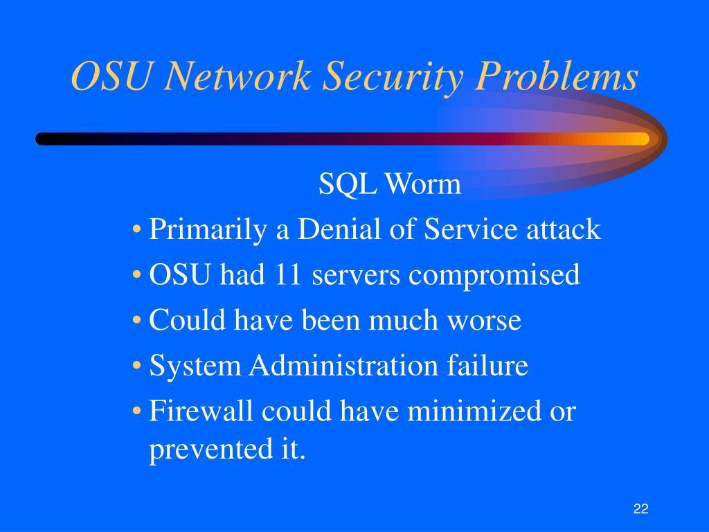 OSU Network Security Problems