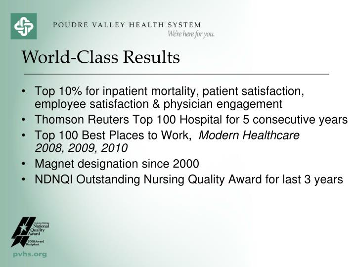 Top 10% for inpatient mortality, patient satisfaction, employee satisfaction & physician engagement