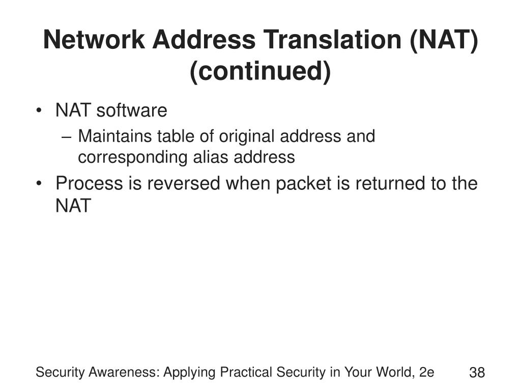 Network Address Translation (NAT) (continued)
