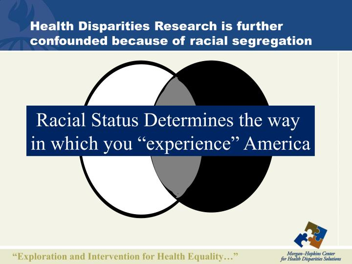 Health Disparities Research is further confounded because of racial segregation
