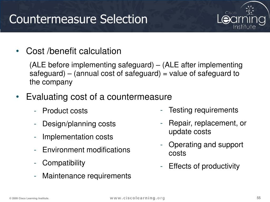 Cost /benefit calculation