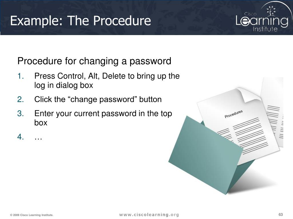 Procedure for changing a password