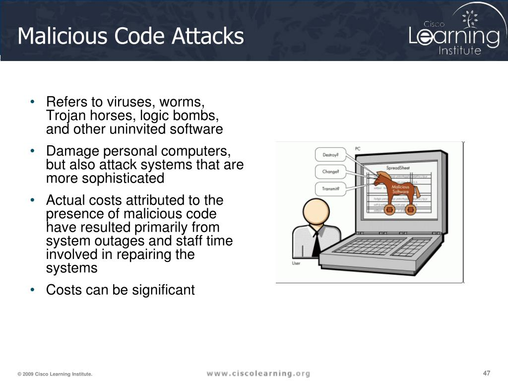 Refers to viruses, worms, Trojan horses, logic bombs, and other uninvited software