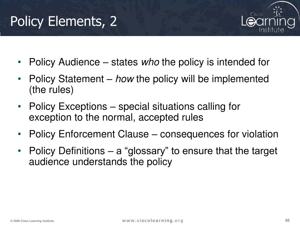 Policy Elements, 2
