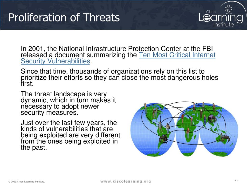In 2001, the National Infrastructure Protection Center at the FBI released a document summarizing the