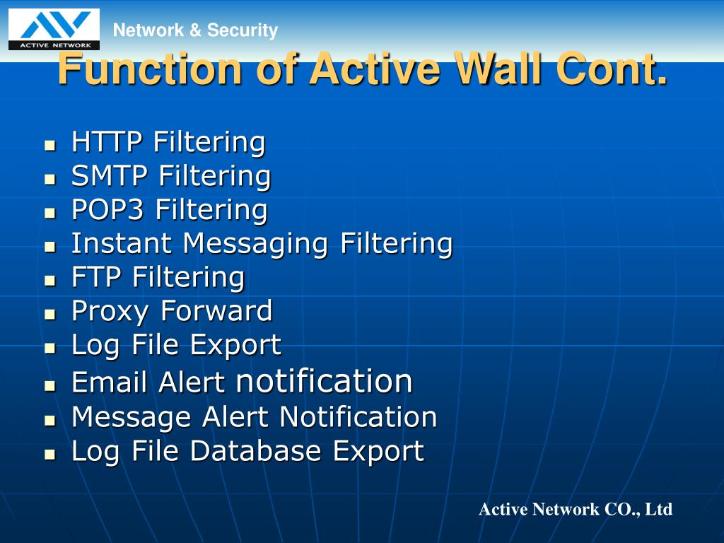 Function of Active Wall Cont.