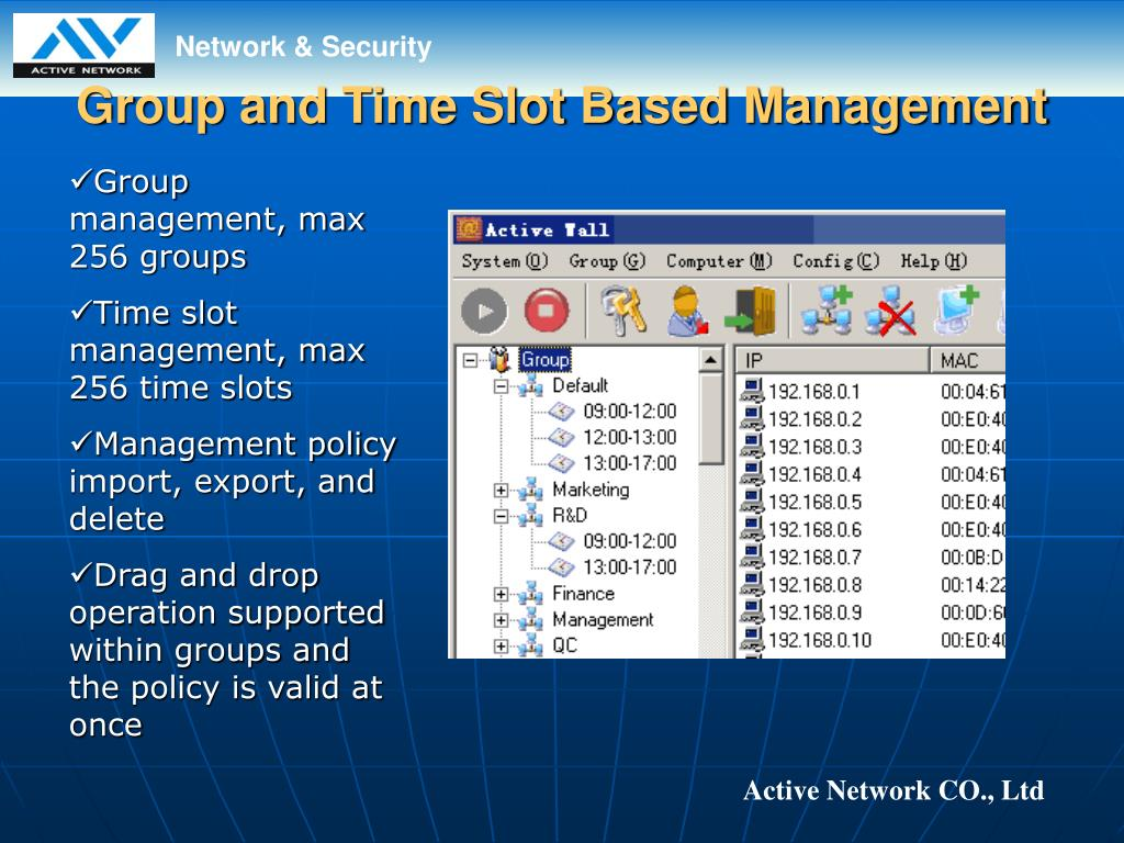 Group and Time Slot Based Management