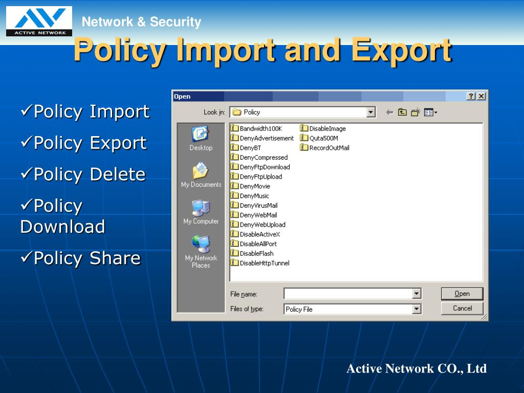 Policy Import and Export