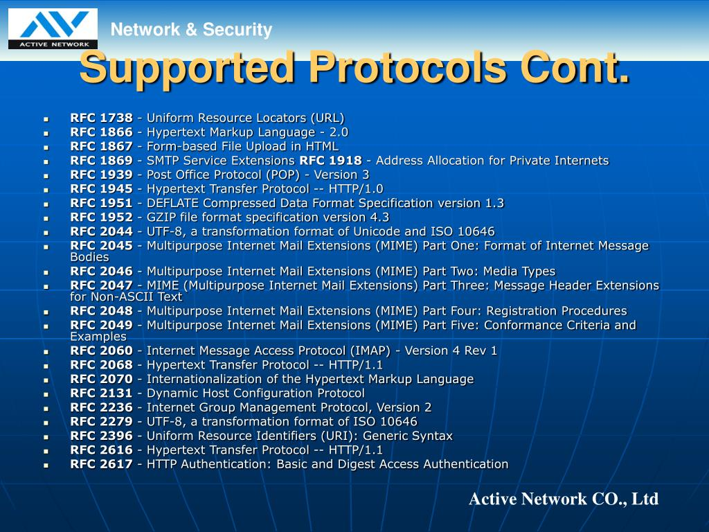 Supported Protocols Cont.