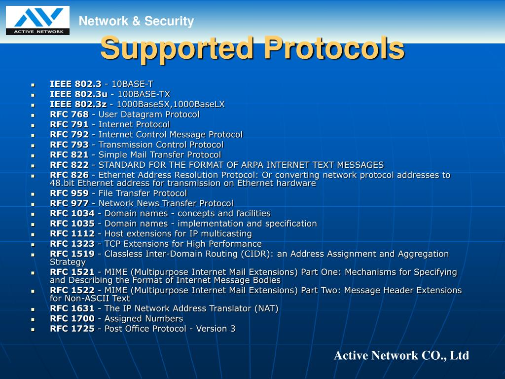 Supported Protocols