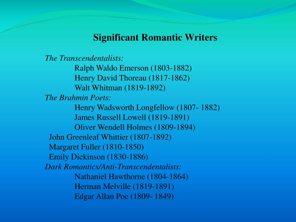 Significant Romantic Writers