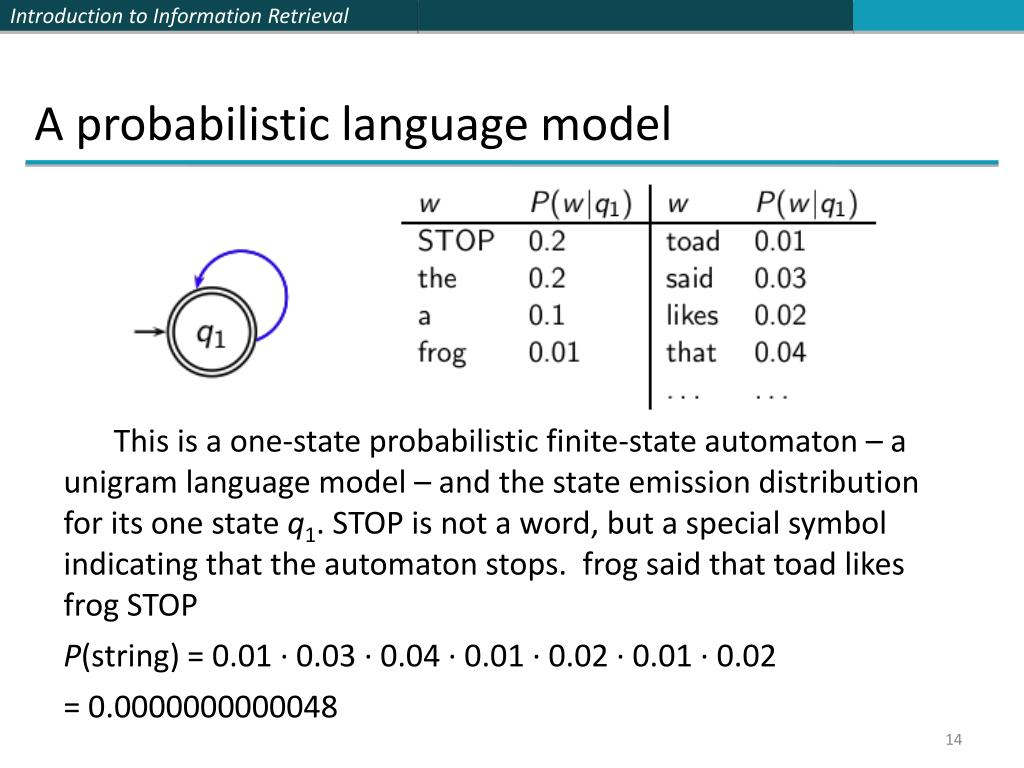 A probabilistic language model