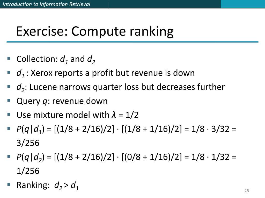 Exercise: Compute ranking