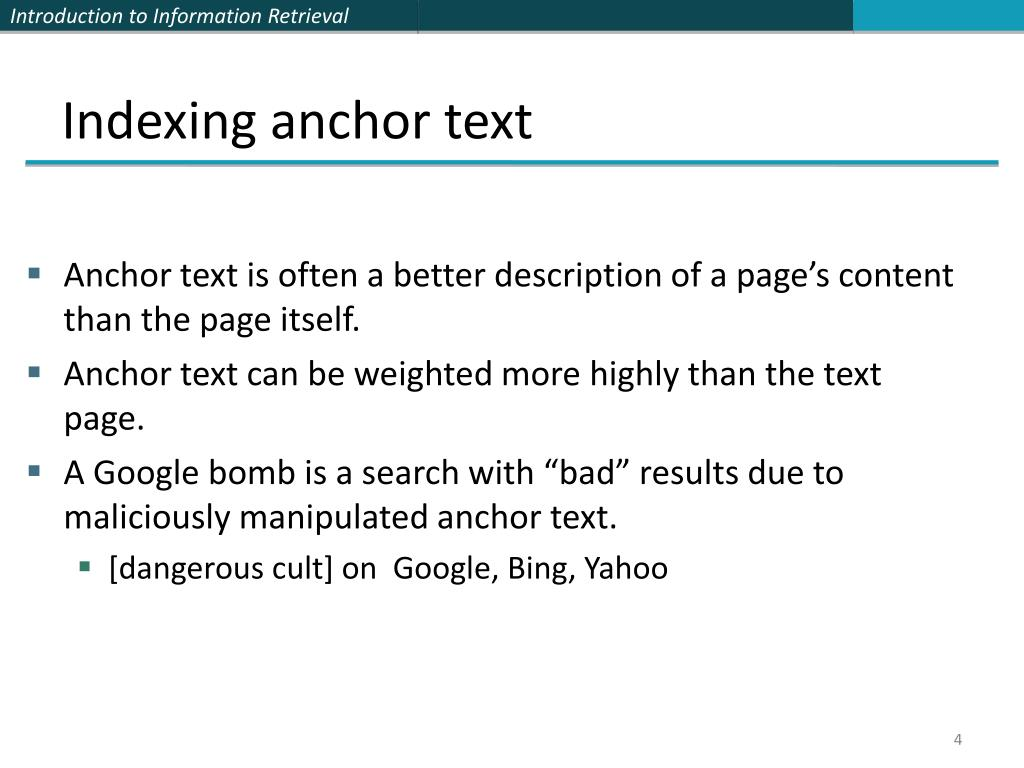 Indexing anchor text