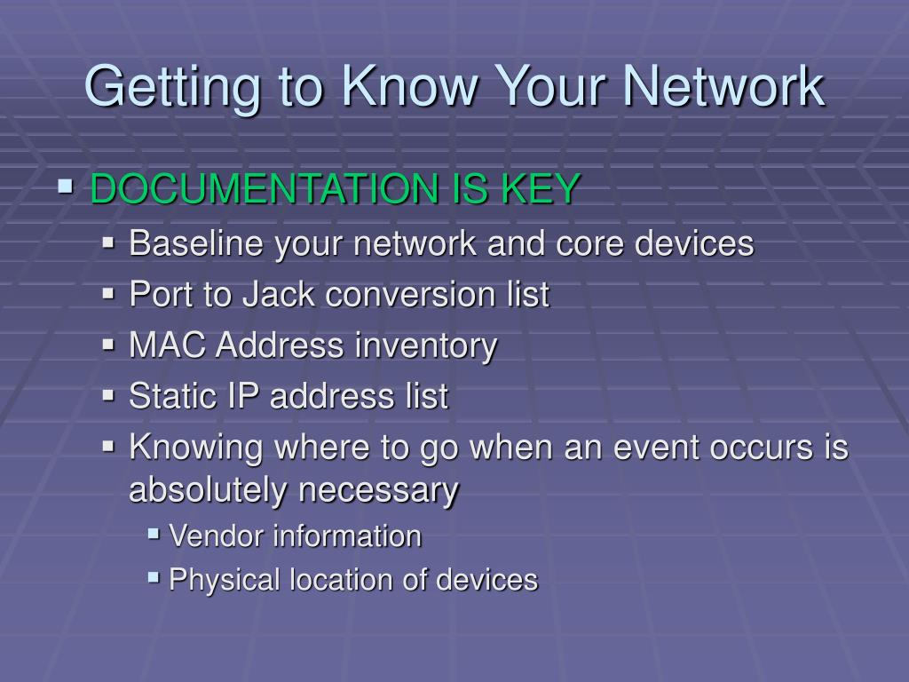 Getting to Know Your Network