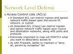 network level defense36