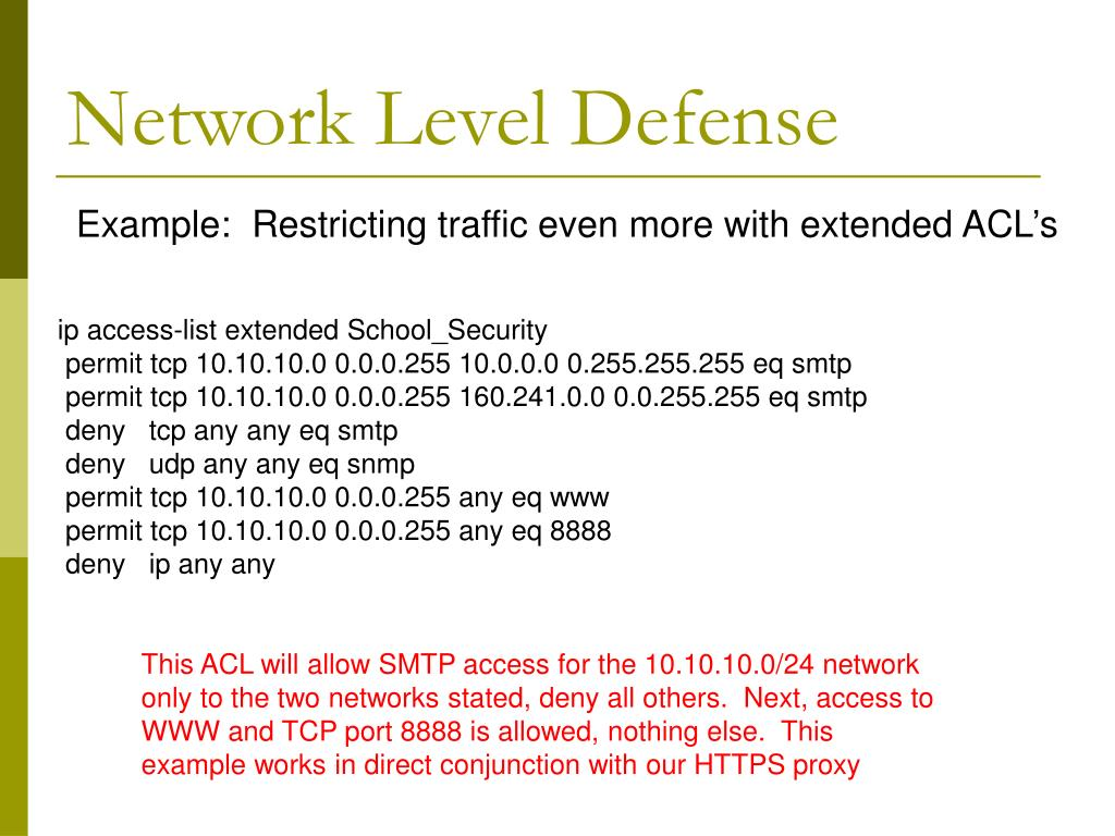 Network Level Defense