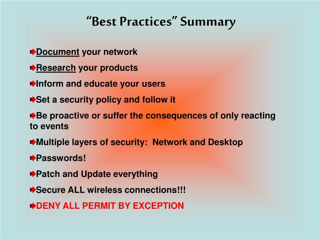 """""""Best Practices"""" Summary"""