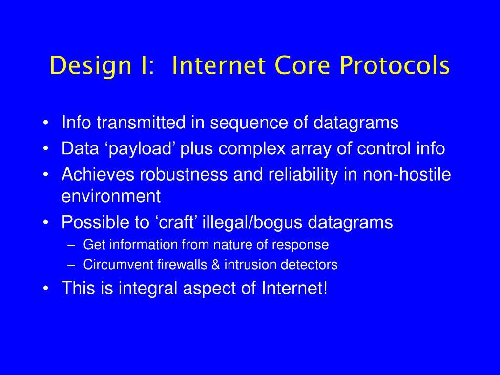 Design I:  Internet Core Protocols
