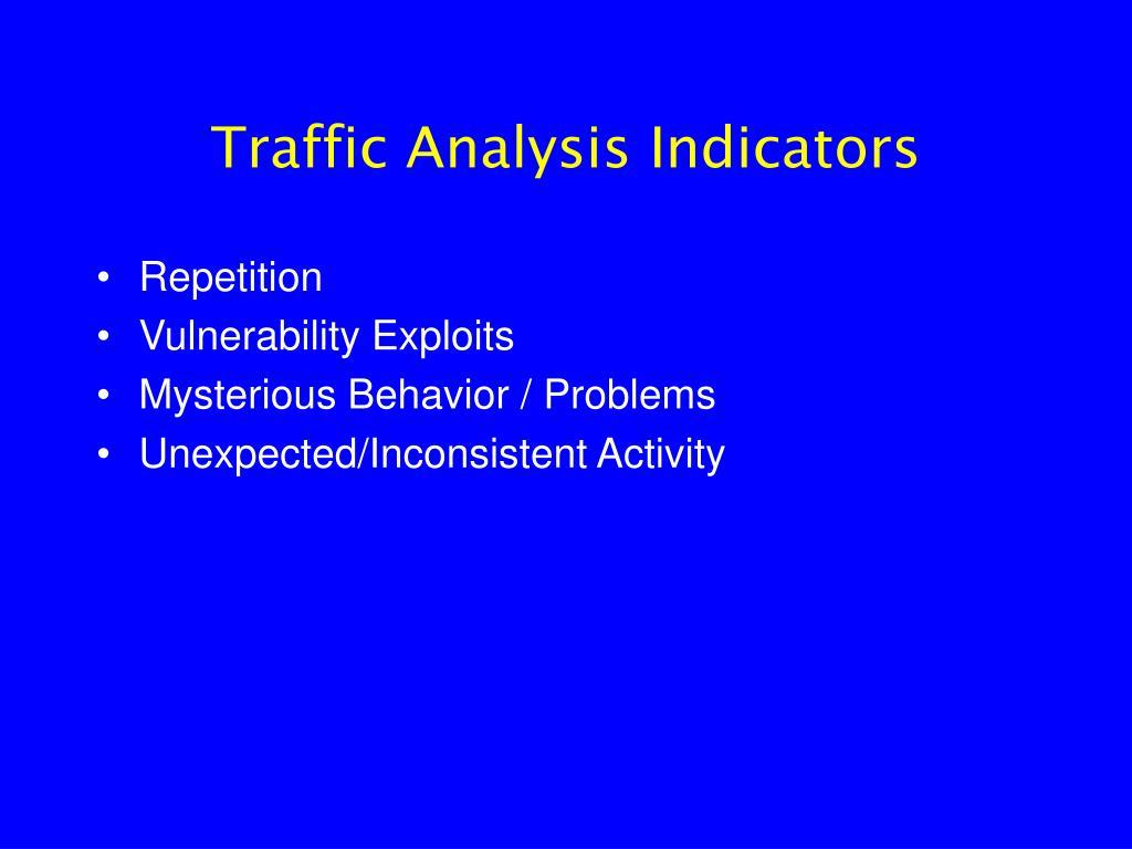 Traffic Analysis Indicators