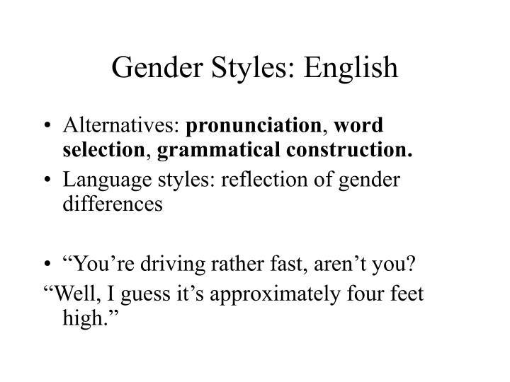 Gender styles english