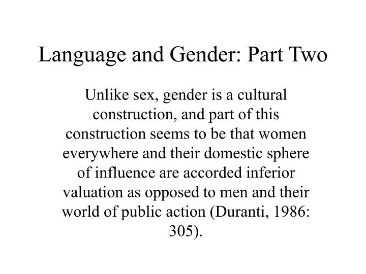 Language and gender part two