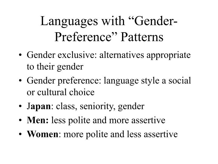 "Languages with ""Gender-Preference"" Patterns"