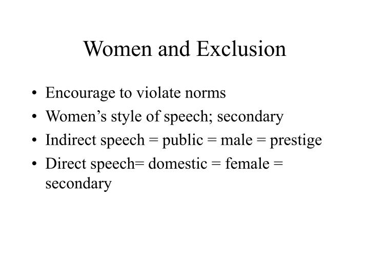 Women and Exclusion