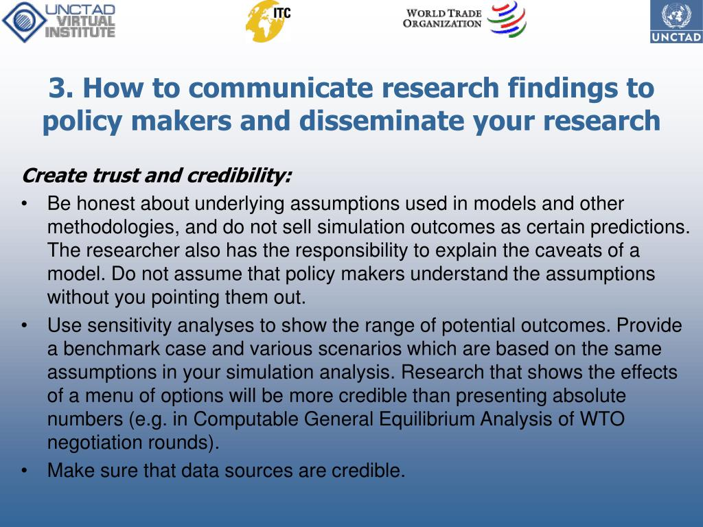 3. How to communicate research findings to policy makers and disseminate your research