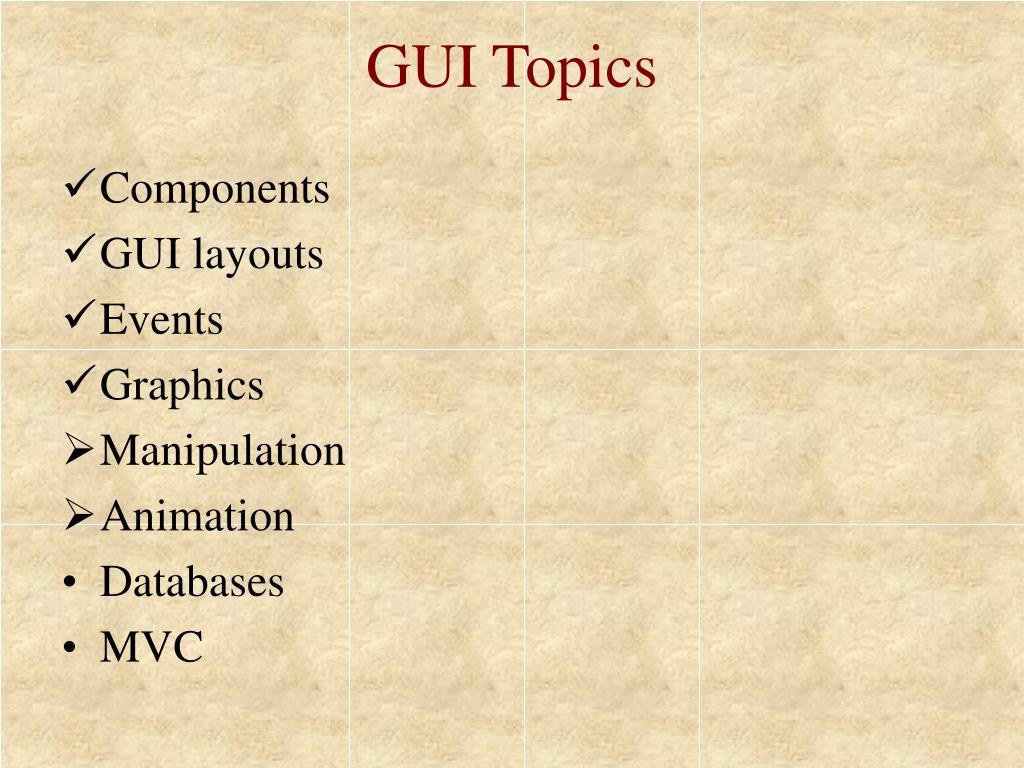 GUI Topics